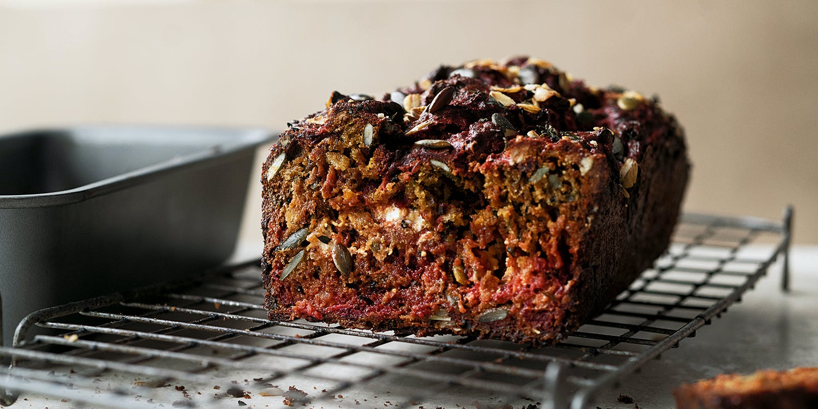 Beetroot, caraway and goat's cheese bread